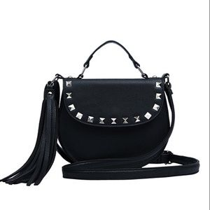 Handbags - Black studded mini satchel cross-body bag
